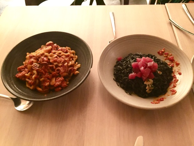 Centrolina fusilli and neri pasta dishes