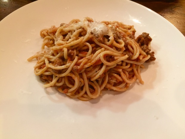 Le Virtu pasta: all chitarra con ragu d'agnello, or guitar-cut pasta in lamb shoulder ragu