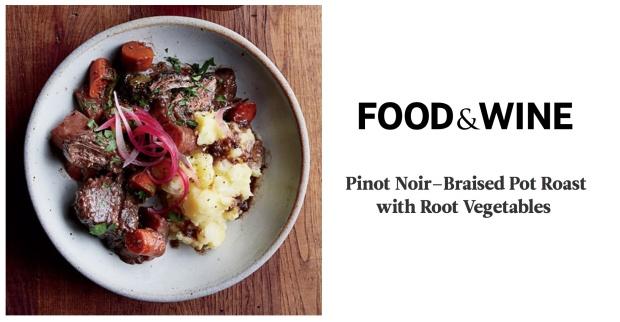 Food & Wine Pinot Noir–Braised Pot Roast with Root Vegetables