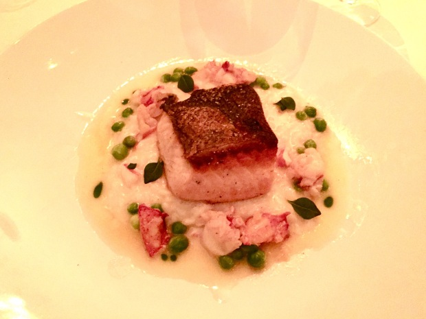 Marcel's pan-seared Norwegian salmon with lobster risotto