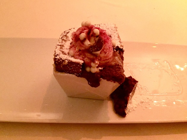 Marcel's hot chocolate soufflé with raspberry white chocolate ice cream