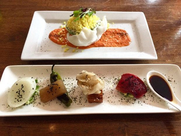 """Vedge: Fancy Radishes and Avocado stuffed with pickled cauliflower """"fried rice"""""""
