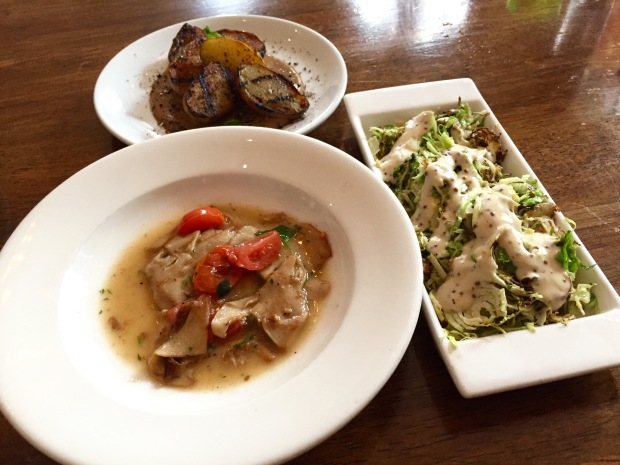 Vedge nebrodini mushrooms, campfire potatoes and shaved brussels sprouts
