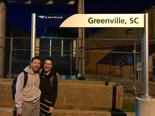 Marnay and Paul at Greenville station with the Amtrak Crescent train