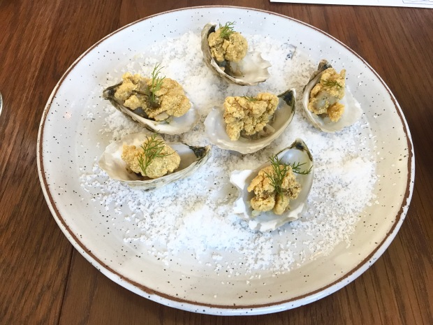 Anchorage cornmeal fried Virginia oysters