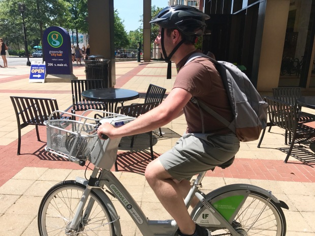Paul biking with B-Cycle in Greenville, SC