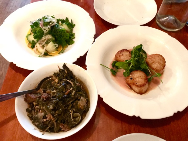 Sally's Middle Name housemade bread and butter, the cucumber salad, the braised collard greens with Szechuan pork and the seared scallops