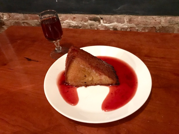 Sally's Middle Name Olive Oil cake with strawberry jam