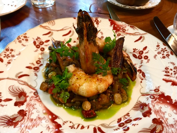 Fiola Maria Menu: Australian tiger prawn on a bed of Sicilian capunitina