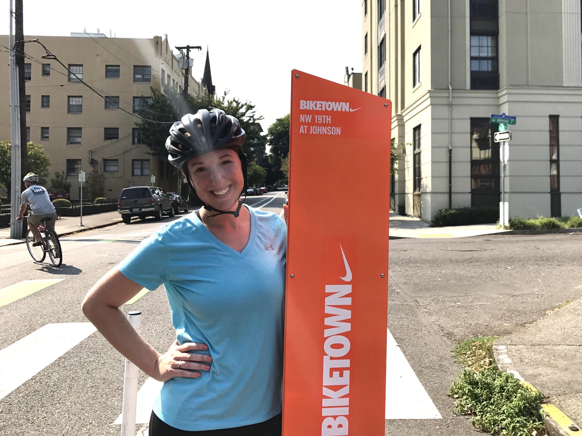 Marnay on a Biketown bike in Portland