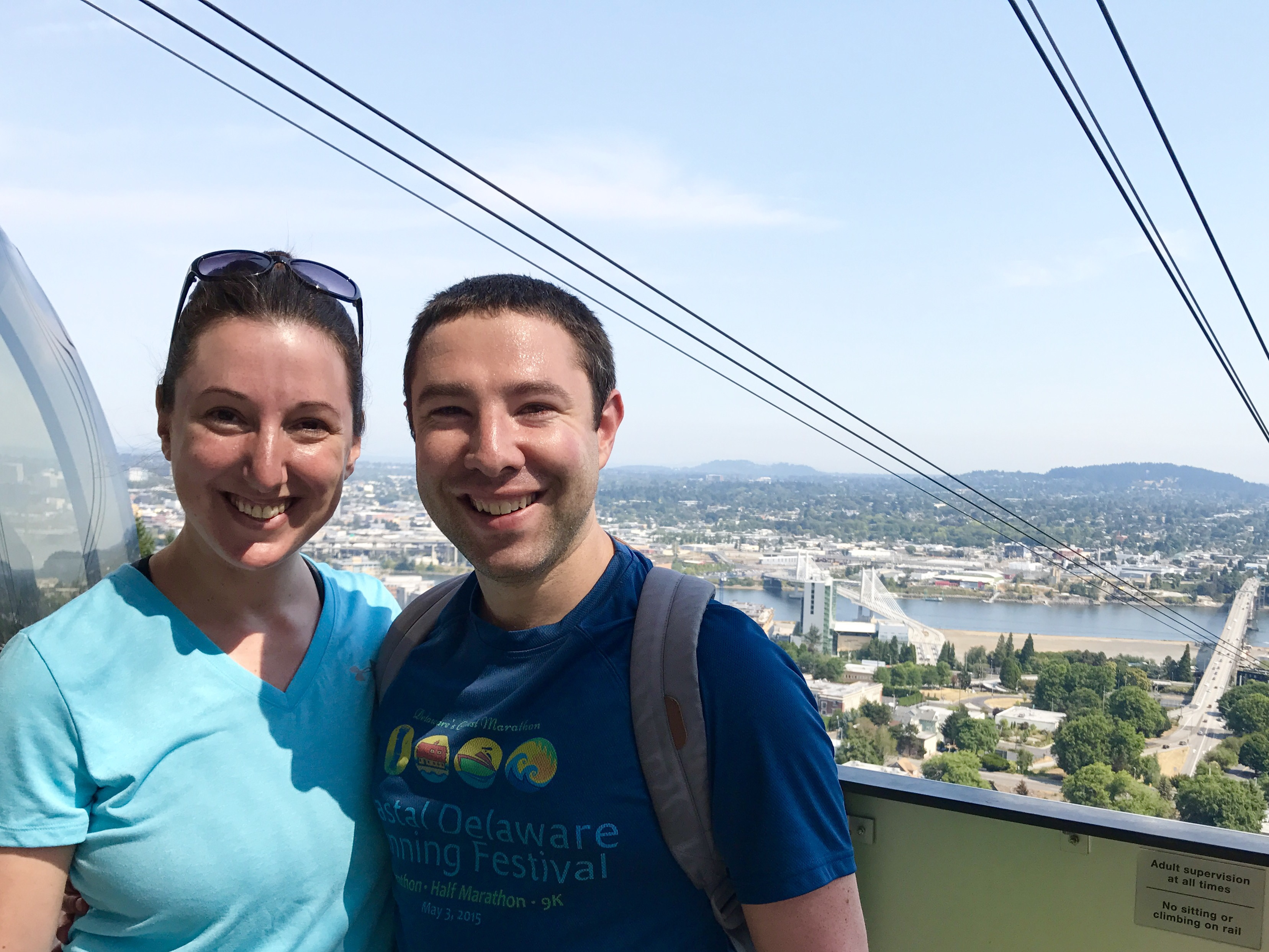 Marnay and Paul on the Portland aerial tram