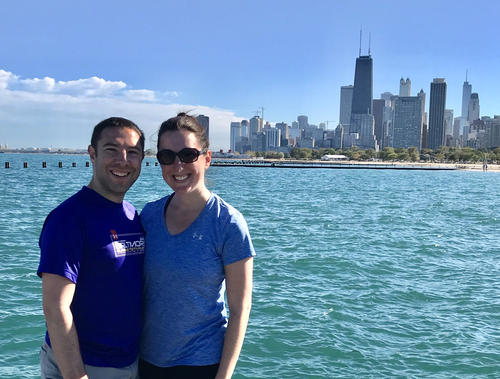 Marnay and Paul on a pier in Lake Michigan in Chicago
