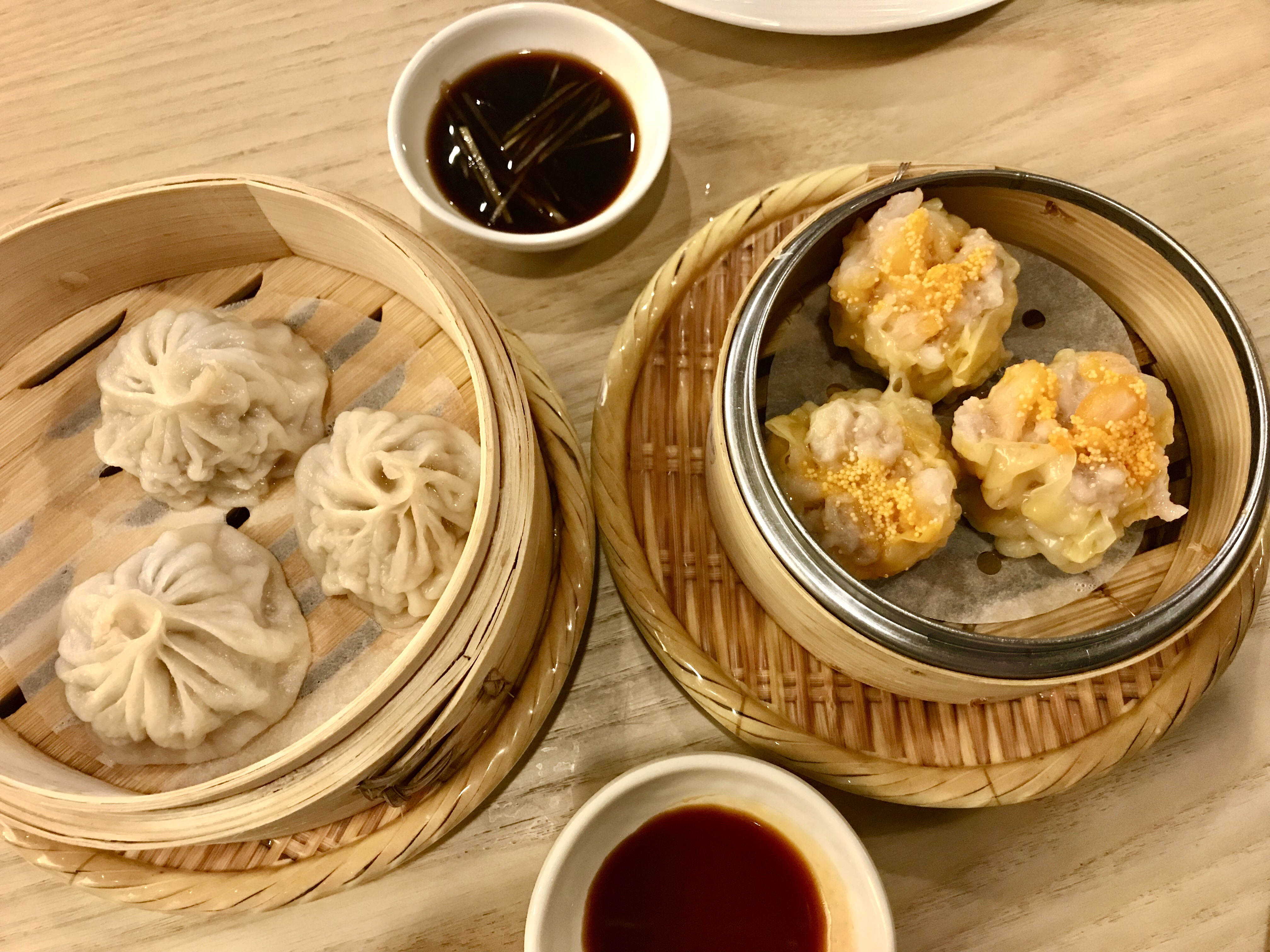 Q by Peter Chang Dim Sum pork shumai dumplings with spicy garlic sauce