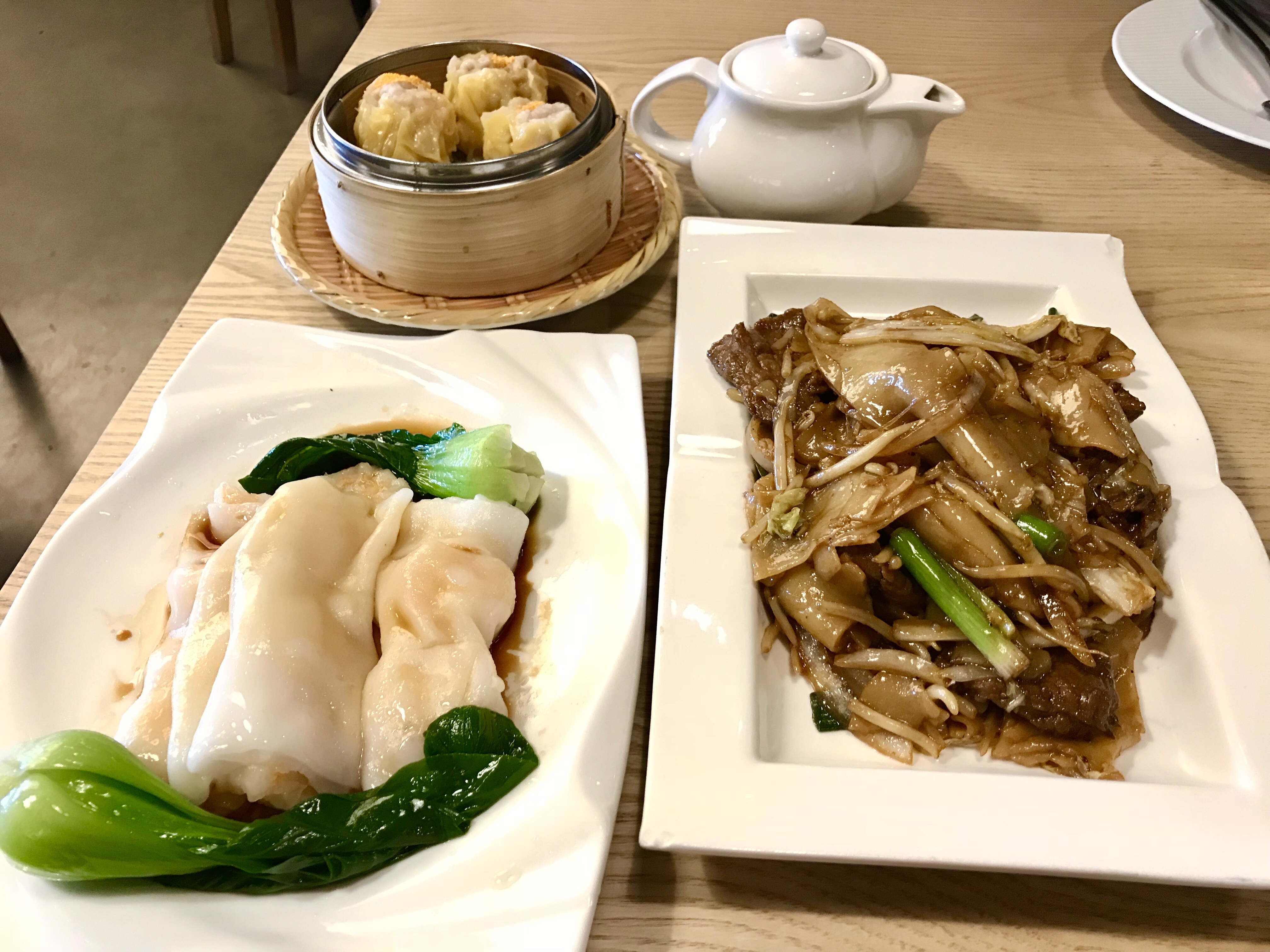 Q by Peter Chang Dim Sum shrimp rice rolls and stir-fried rice noodles and beef