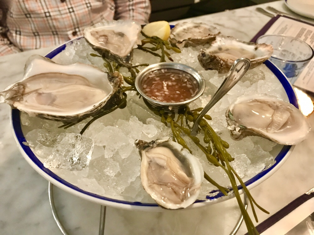 Whaley's oysters from the Chesapeake region of Virginia and from Maine