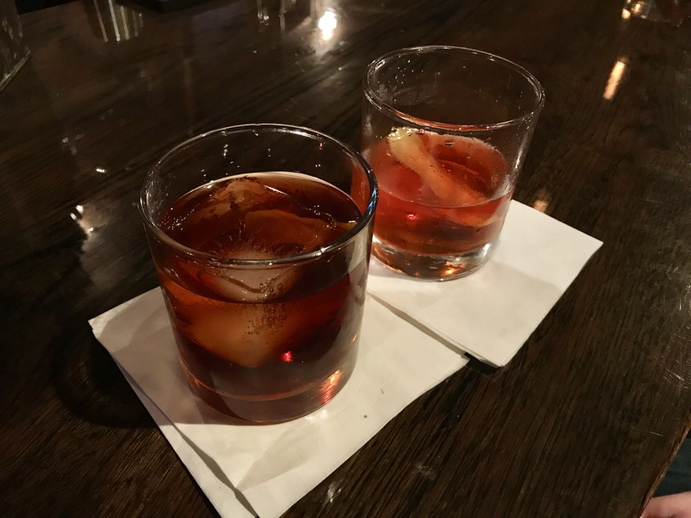 Dry 85 cocktails, Vieux Carres and Sazeracs