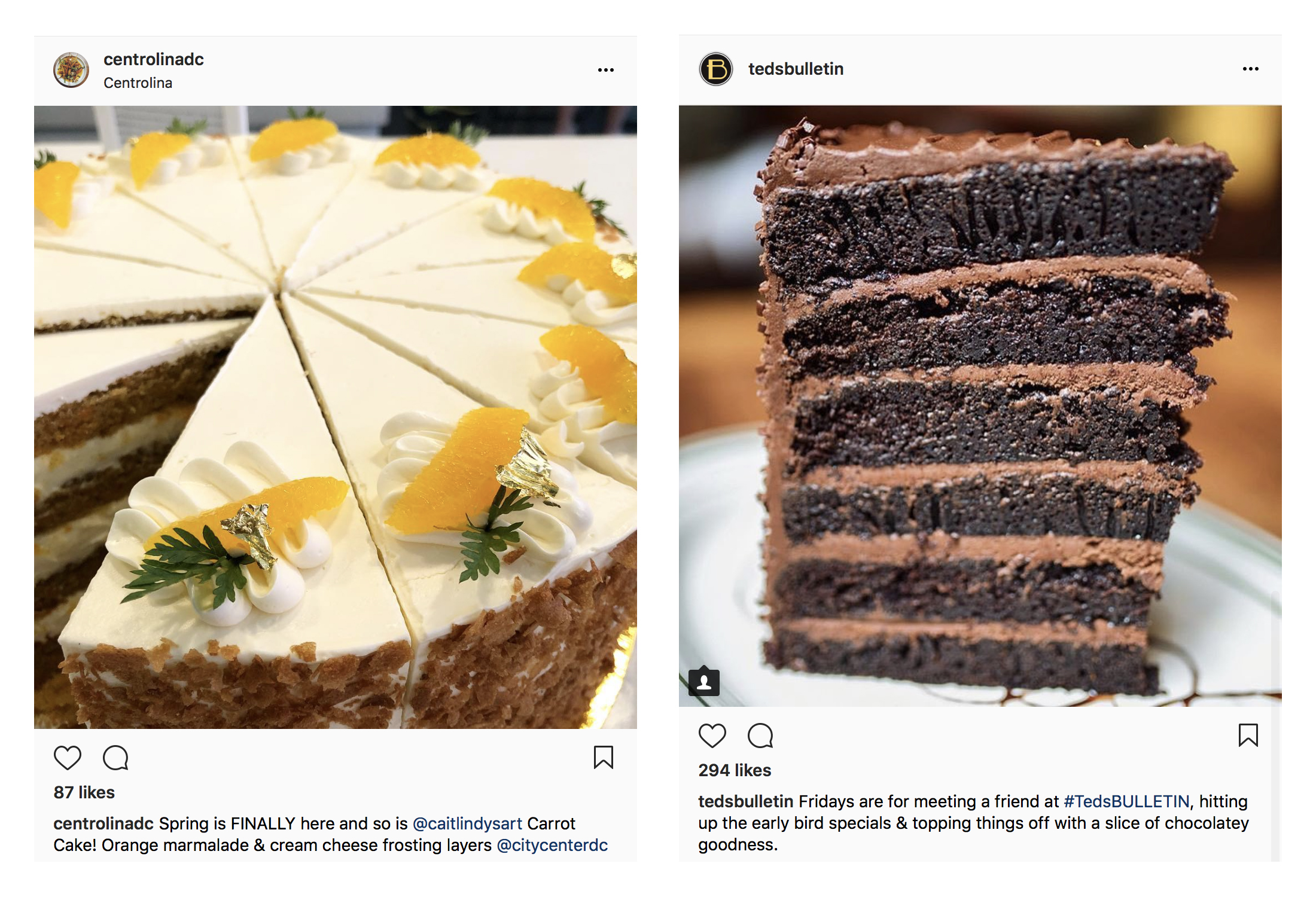 Huge cake slices on Paul's instagram feed