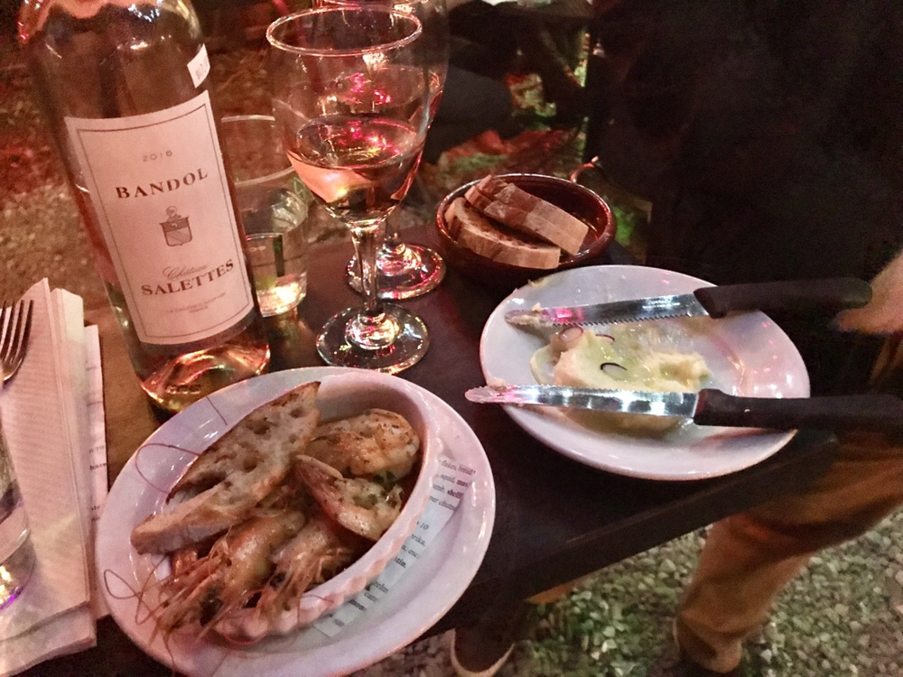 New Orleans Bacchanal Bandol Rose wine with radishes and Gulf shrimp