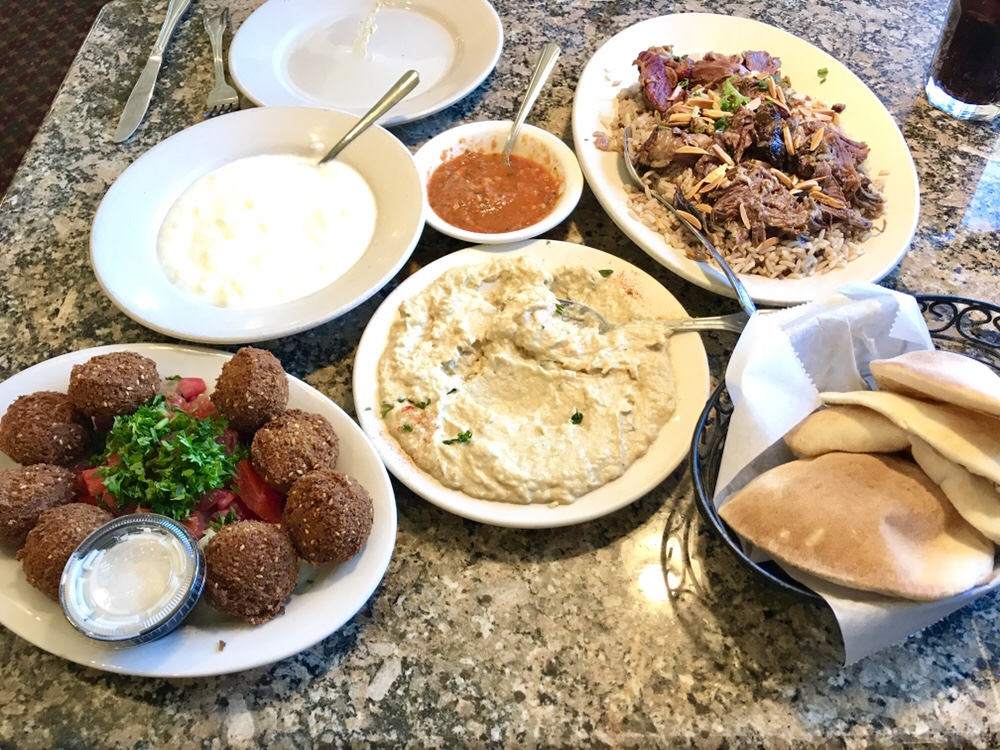 Al Ameer restaurant in Dearborn Heights: smoky, velvety baba ghanouge with housemade pitas and housemade labneh, falafel and stuffed lamb