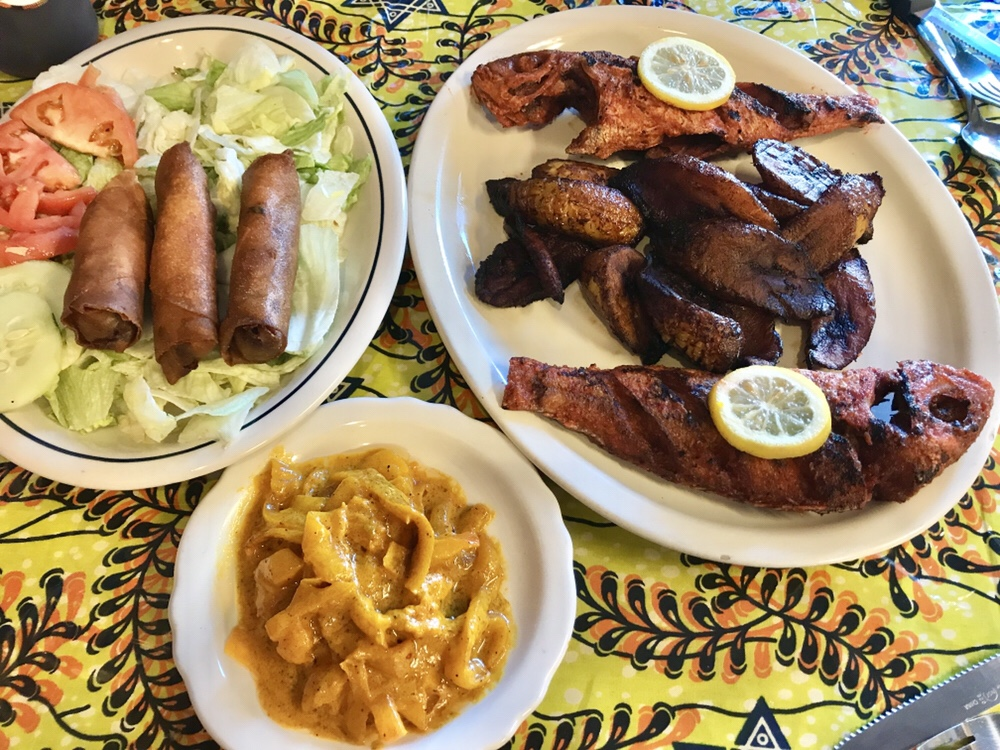 Maty's African Cuisine in Detroit: nems sprint rolls, whole red snapper, sorrel juice