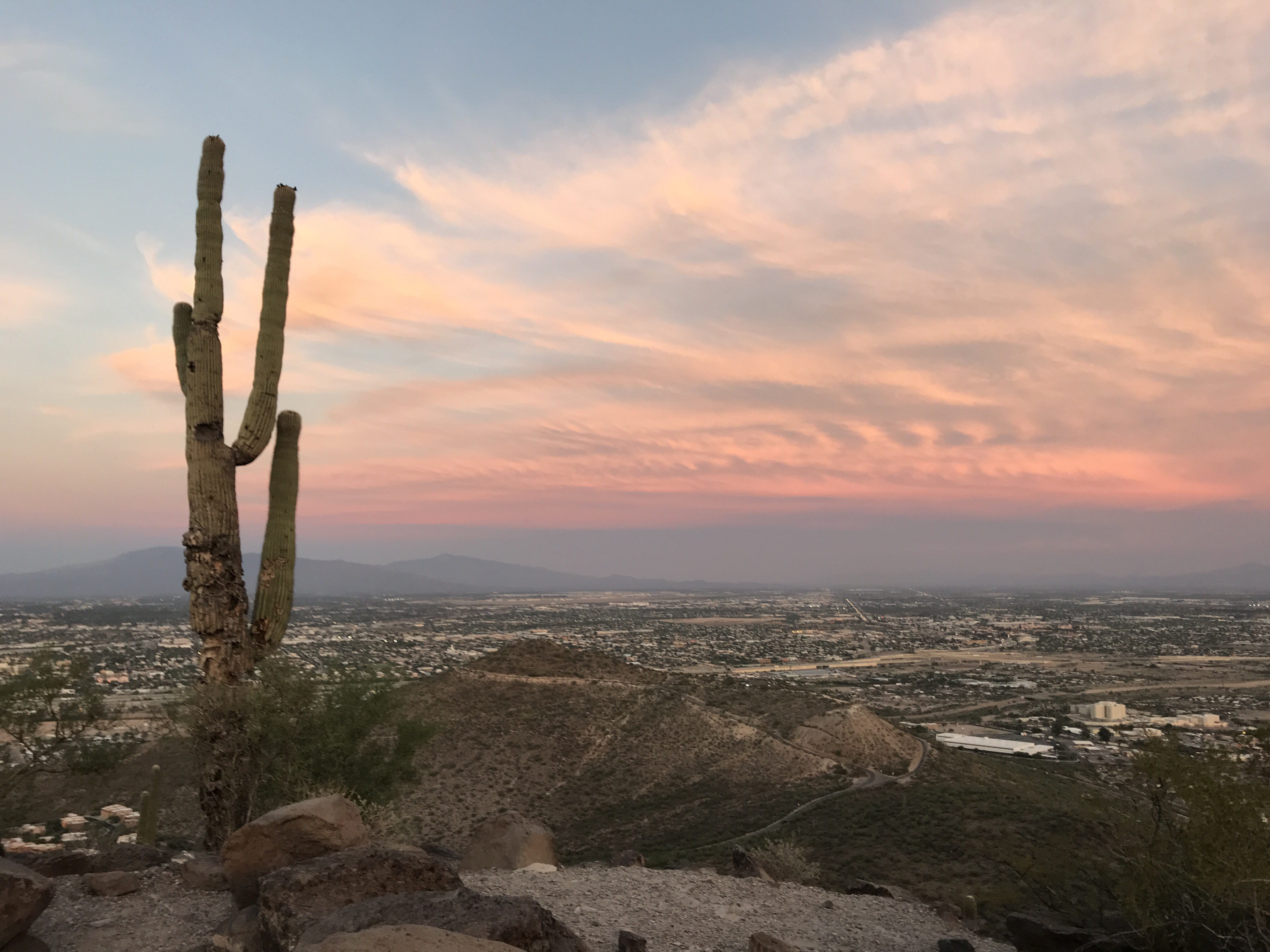 Sunset at the top of our hike at Tumamoc Hill in Tucson, Arizona