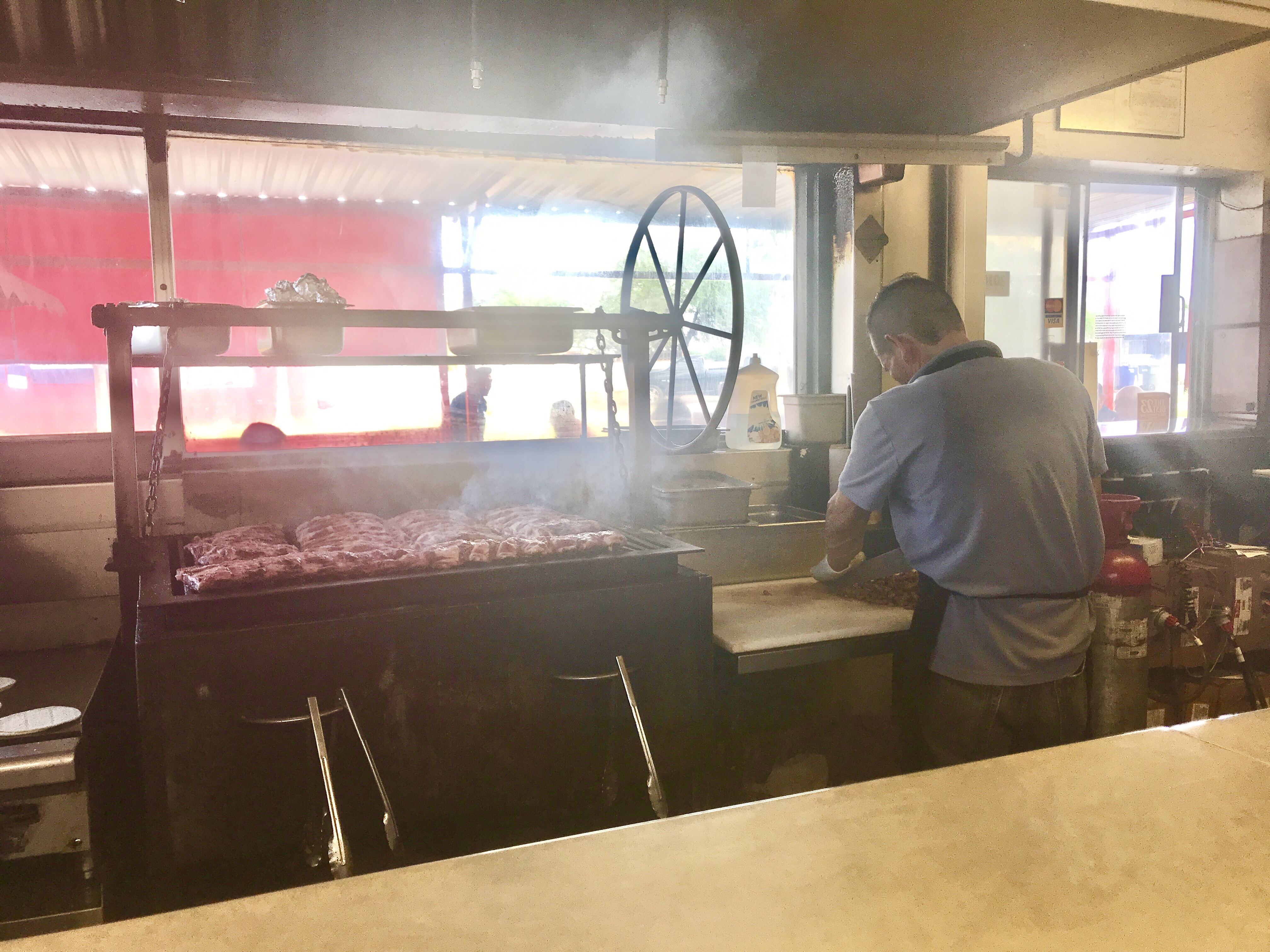 Smoking the meat at Los Tacos Apson in Tucson, Arizona