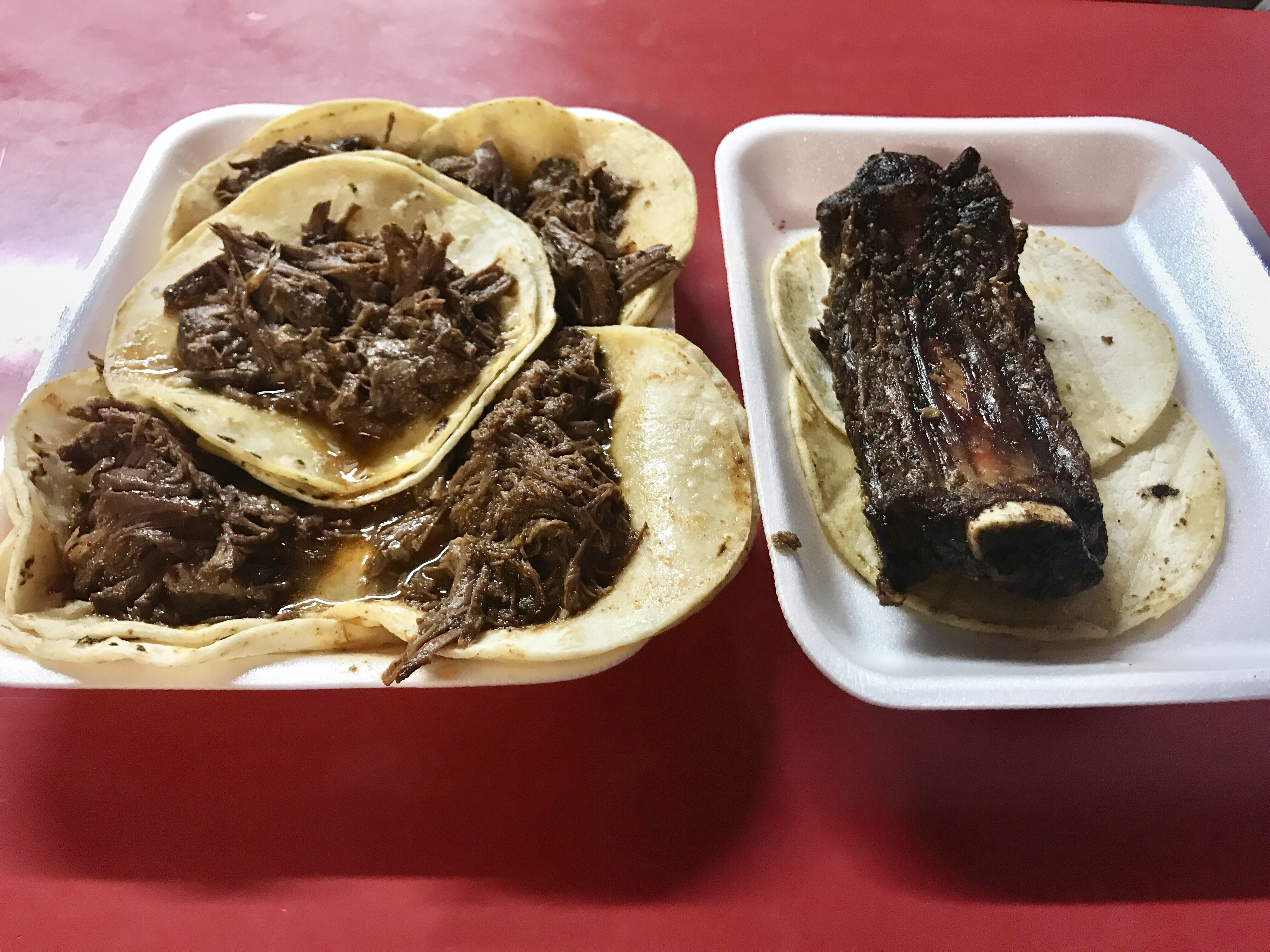 Barbacoa and rib tacos at Los Tacos Apson in Tucson, Arizona