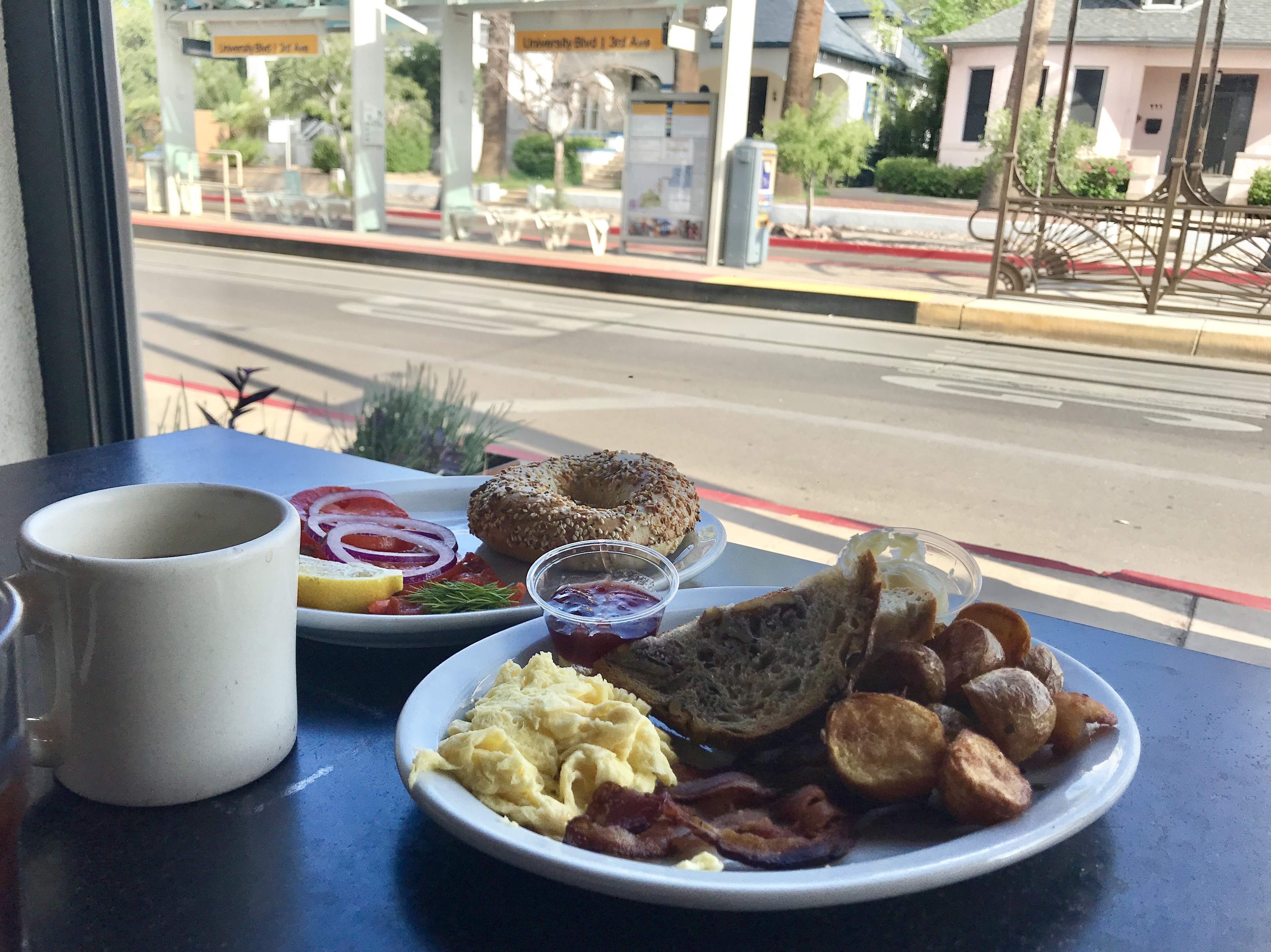 Eating breakfast at Time Market in Tucson, Arizona