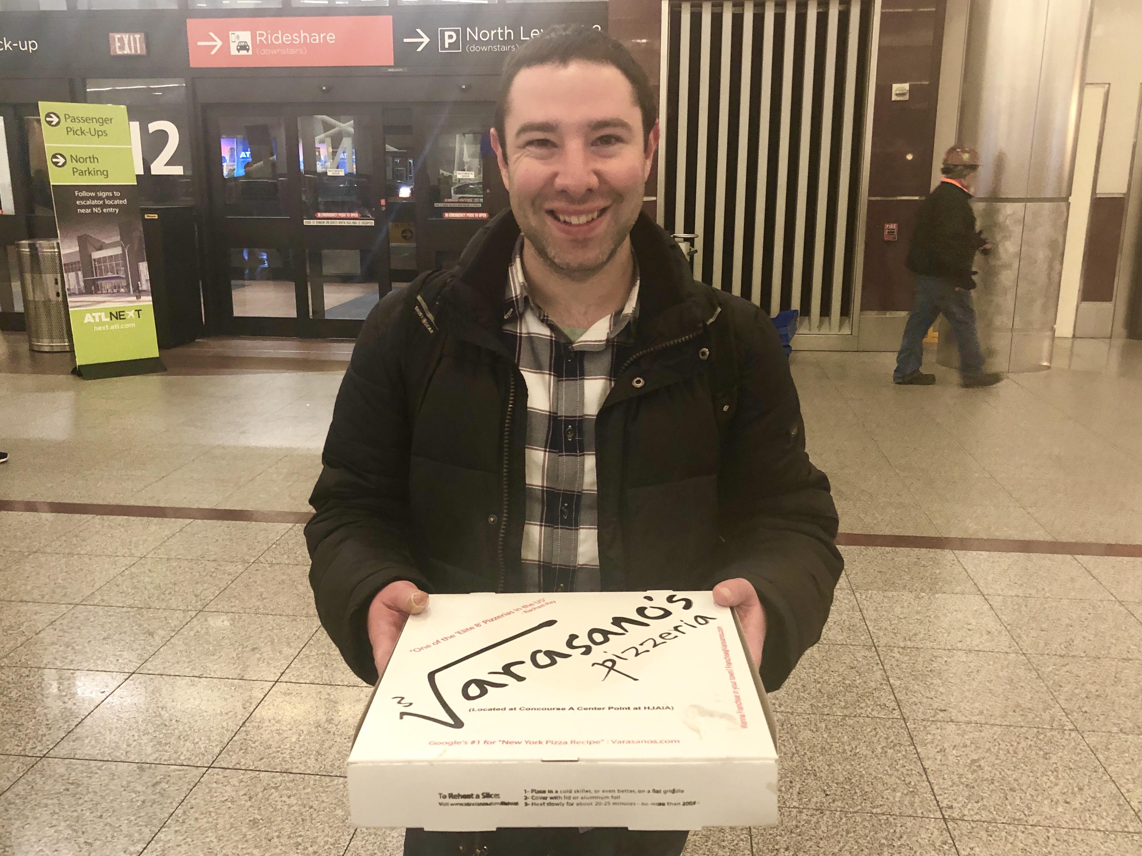 Margharita Di Bufala pizza from Varasano's Pizza in the Hartsfield-Jackson airport in Atlanta