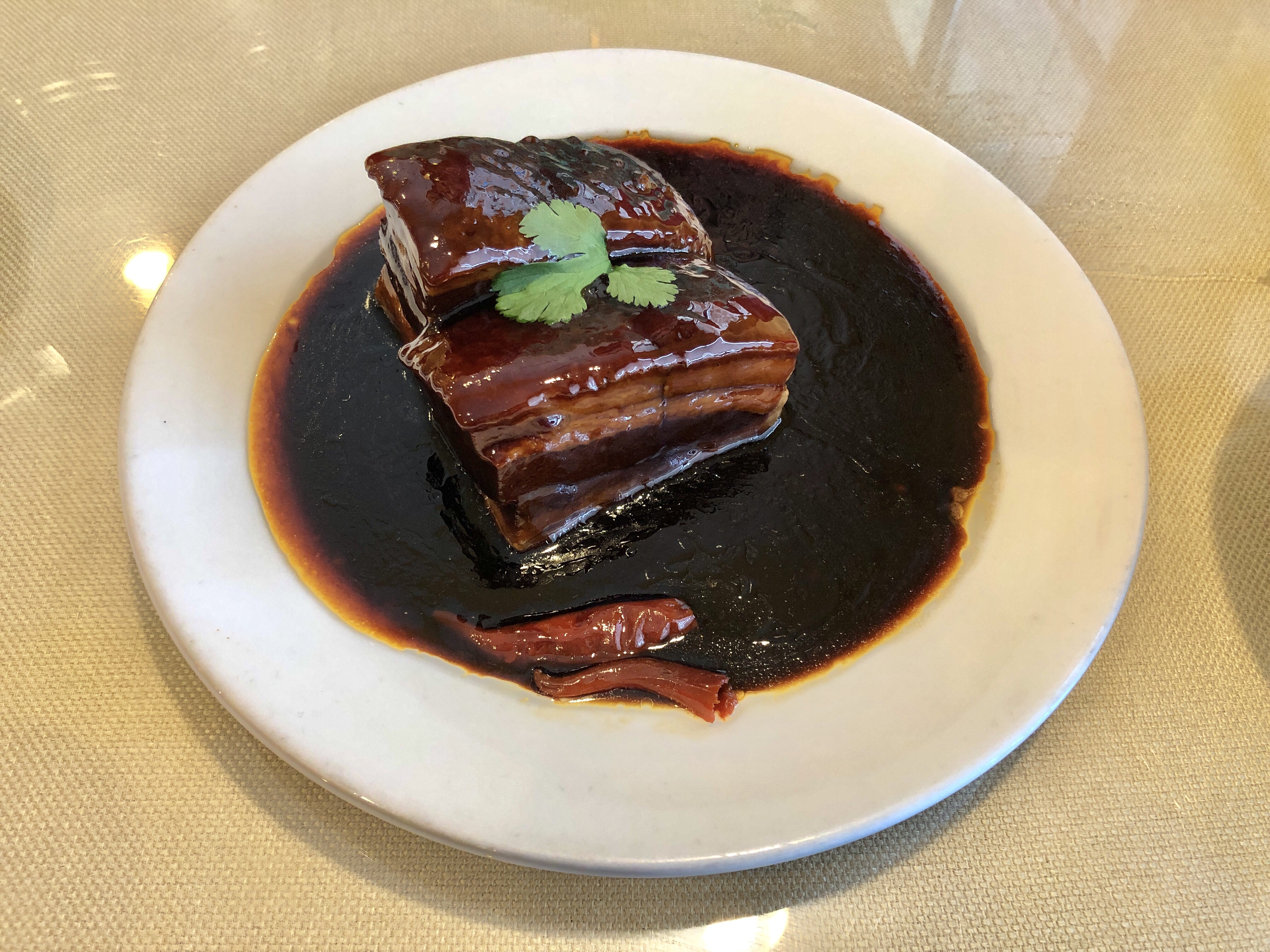 Dong Po Pork, braised pork belly in an ethereal brown sauce at Masterpiece in Duluth, Georgia