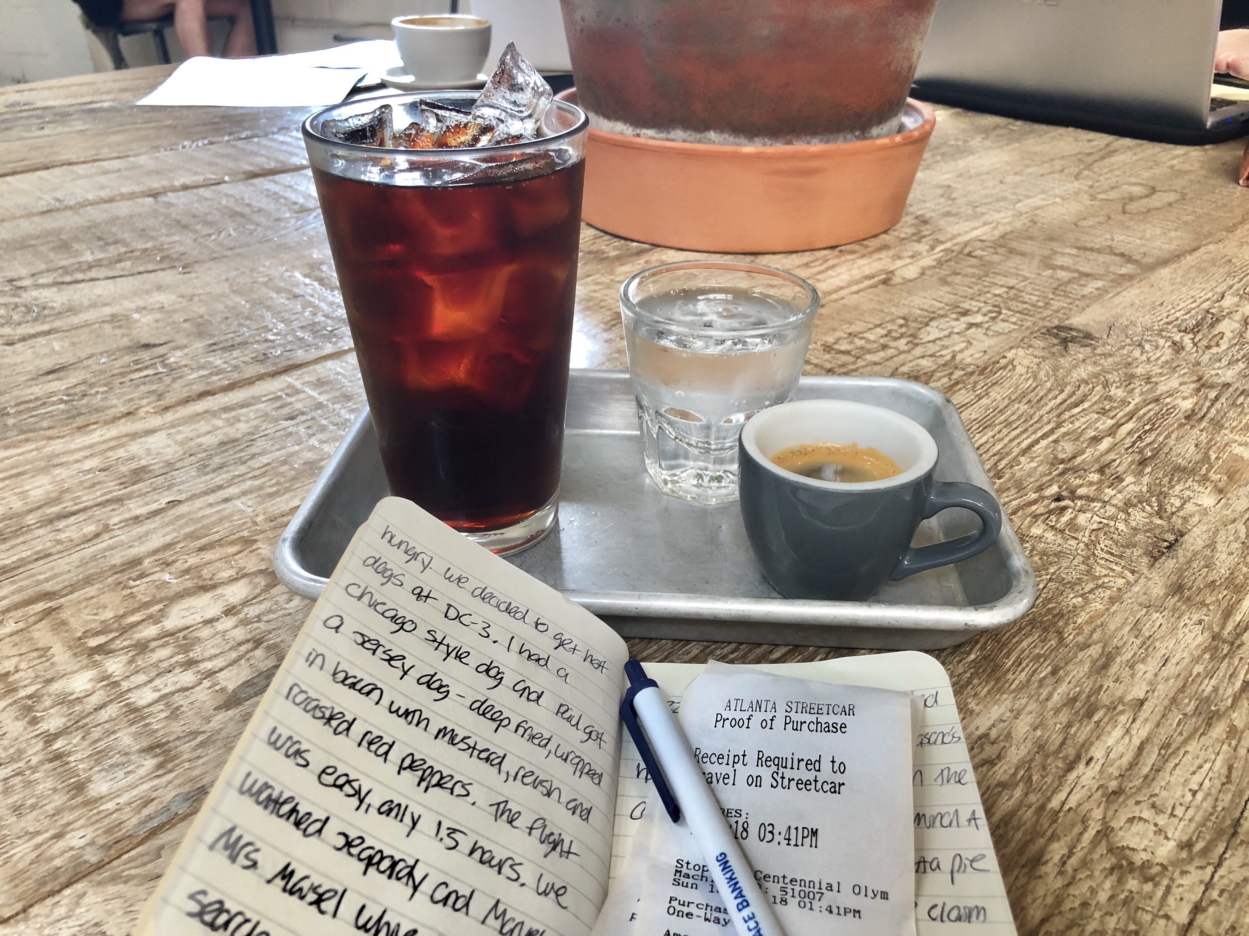 Drinking cold brew coffee at Chrome Yellow Trading Company near the King Historic District in Atlanta