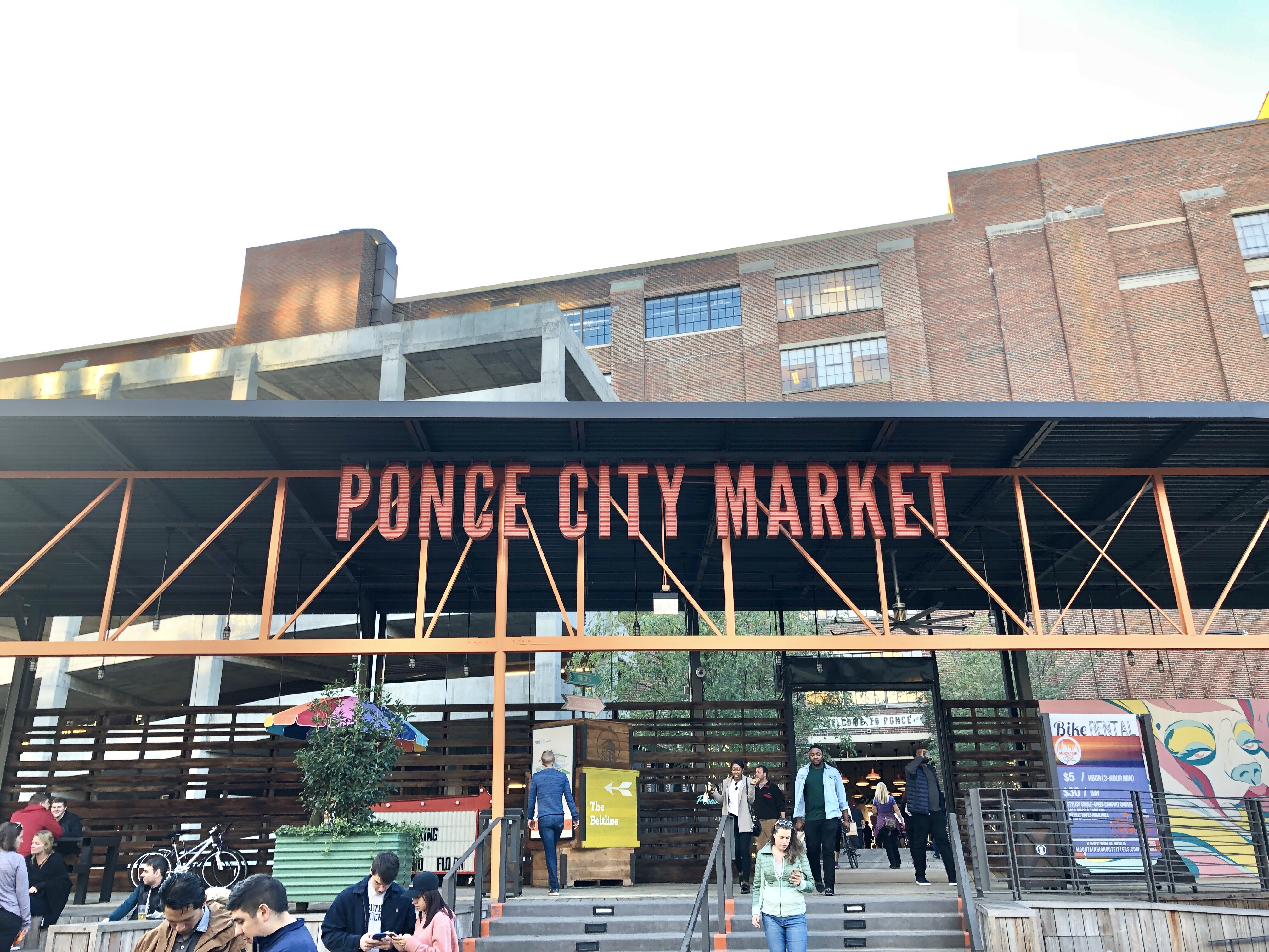 Walking by Ponce City Market on the Beltline in Atlanta
