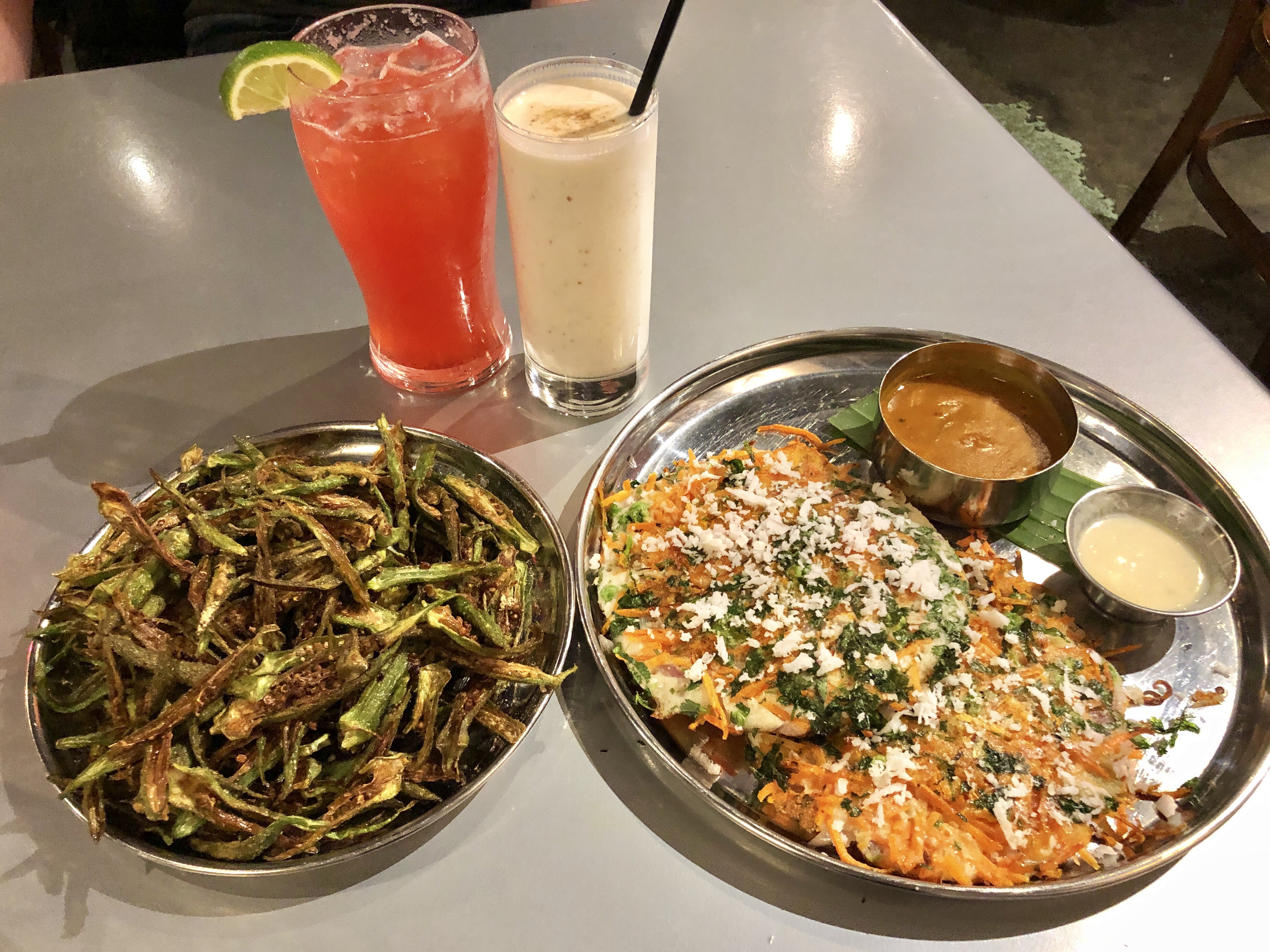 Matchstick okra fries and vegetable uttapam at Chai Pani in Atlanta