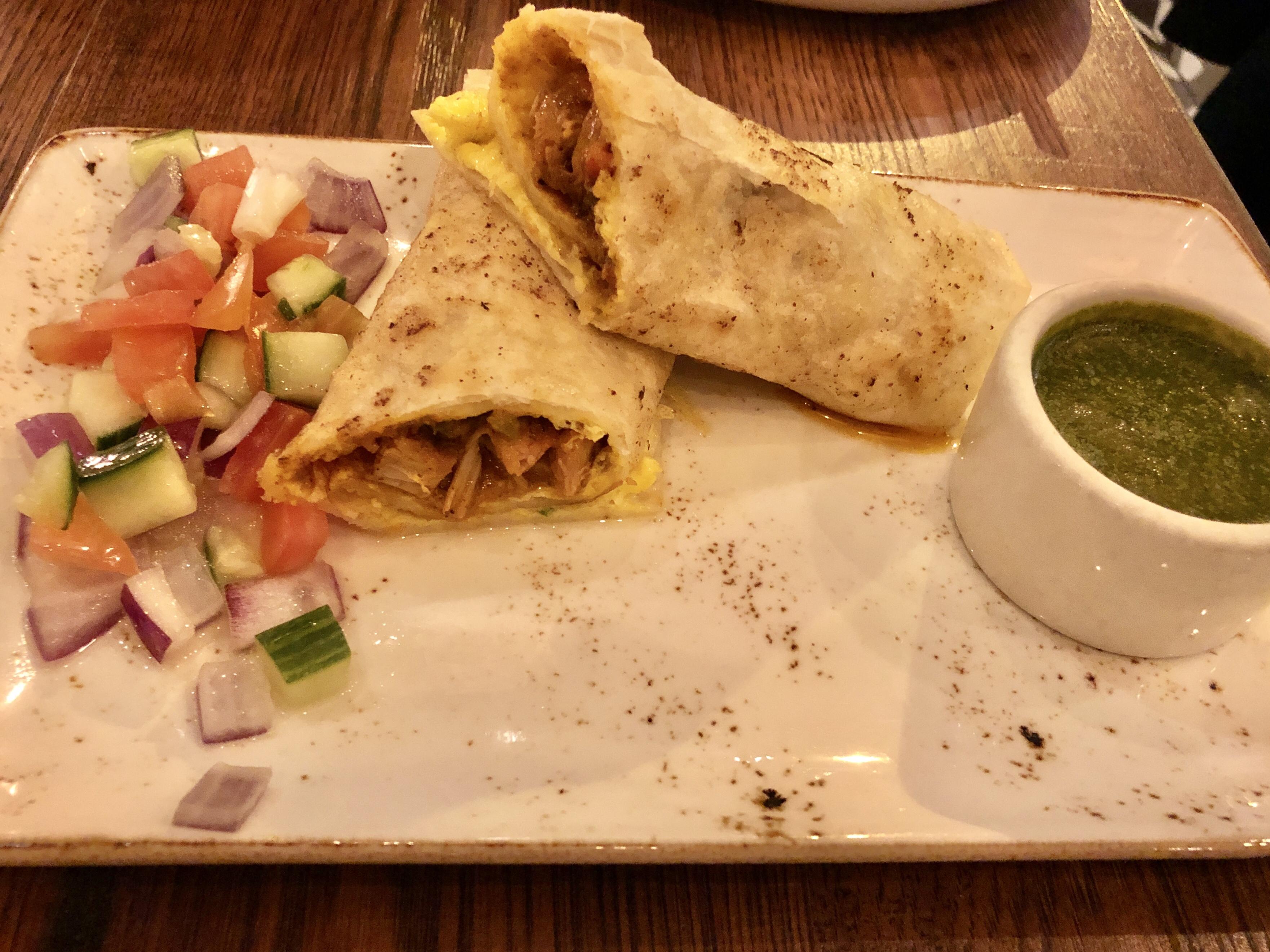 Chicken kathi wrap at Bindaas Indian street food in Foggy Bottom, DC