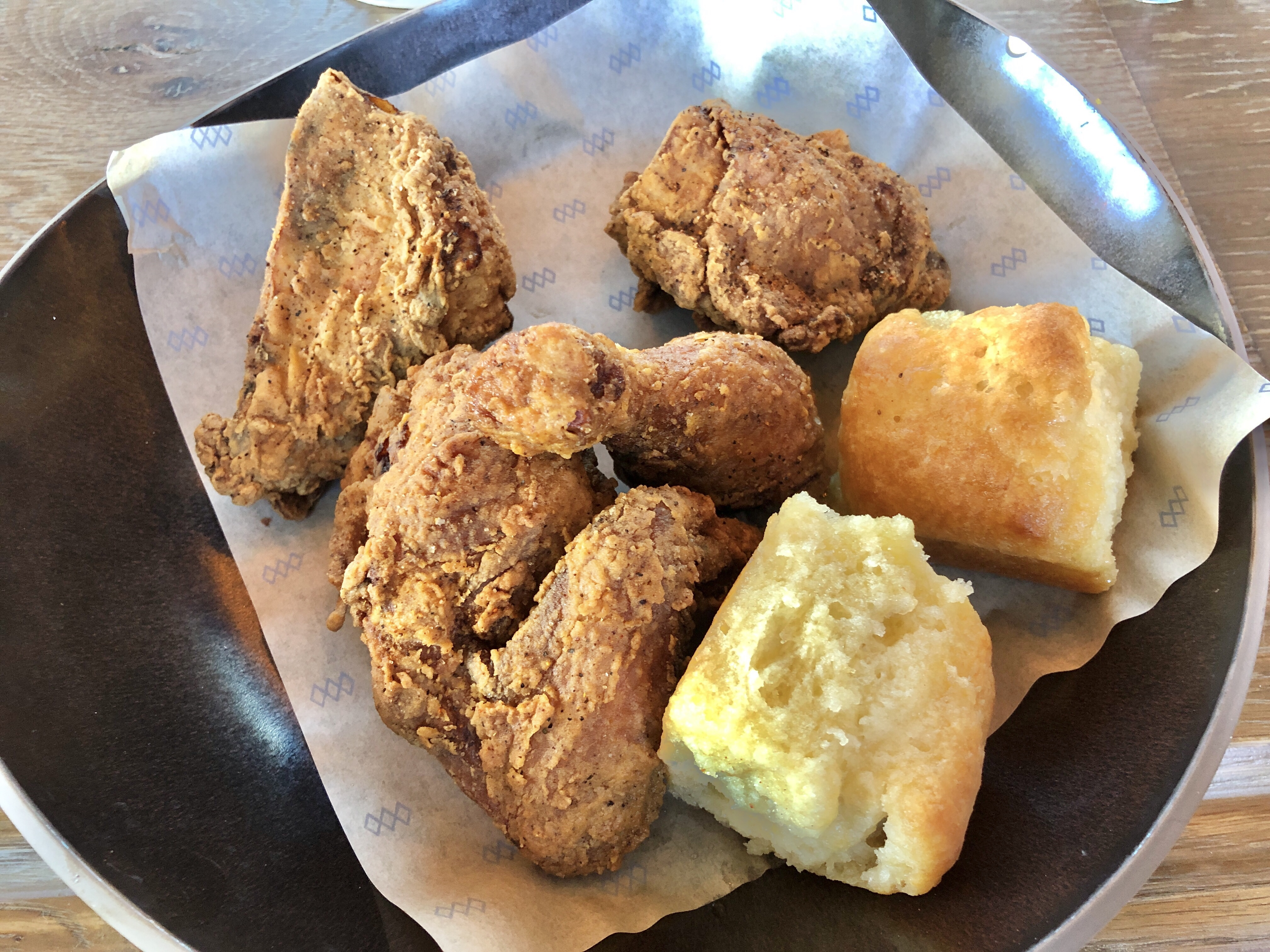Southern-style fried chicken with honey-butter biscuits at Rye Street Tavern in Port Covington, Baltimore, Maryland