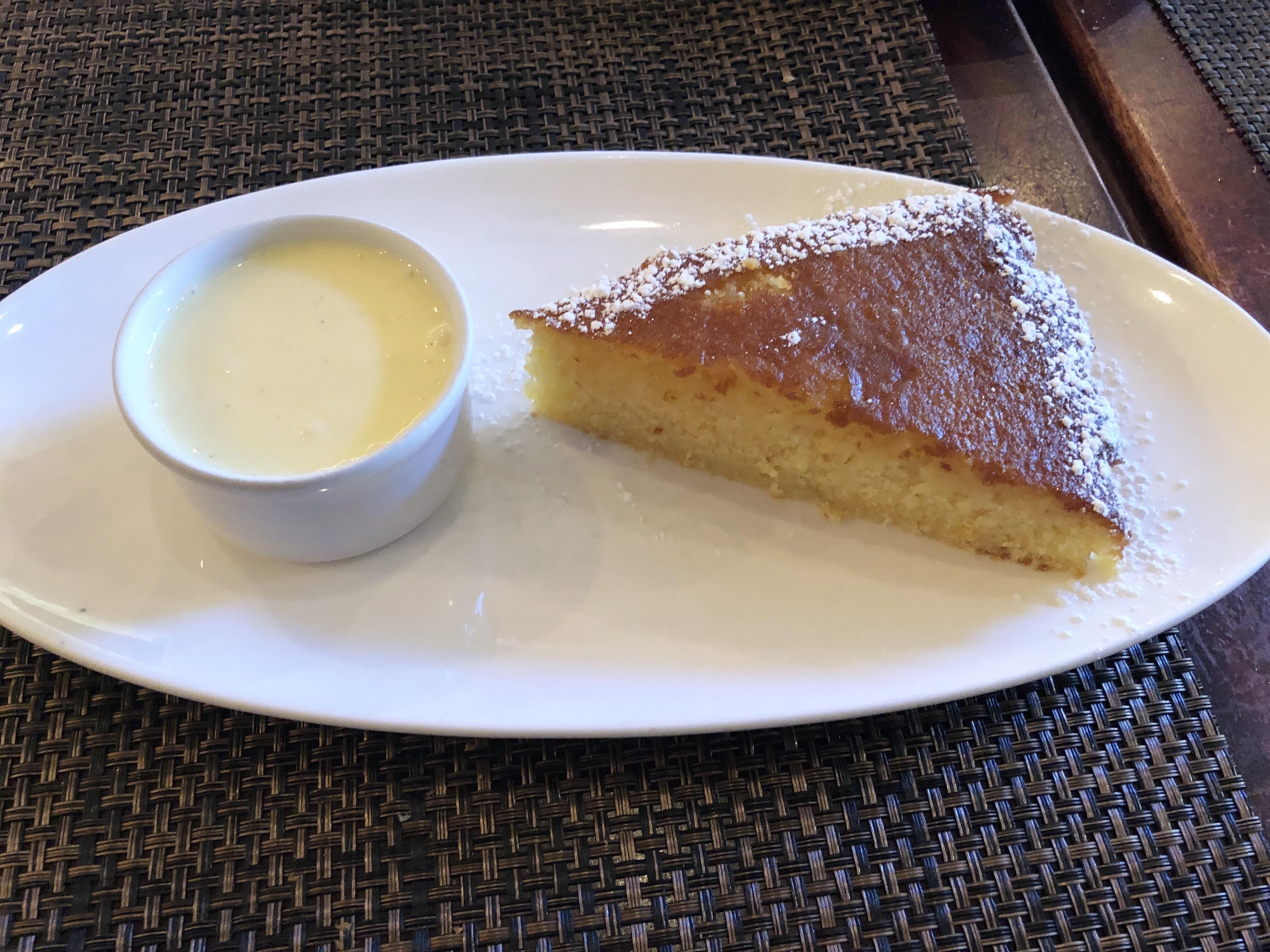 Gateau a la' orange for dessert at La Piquette in Washington DC