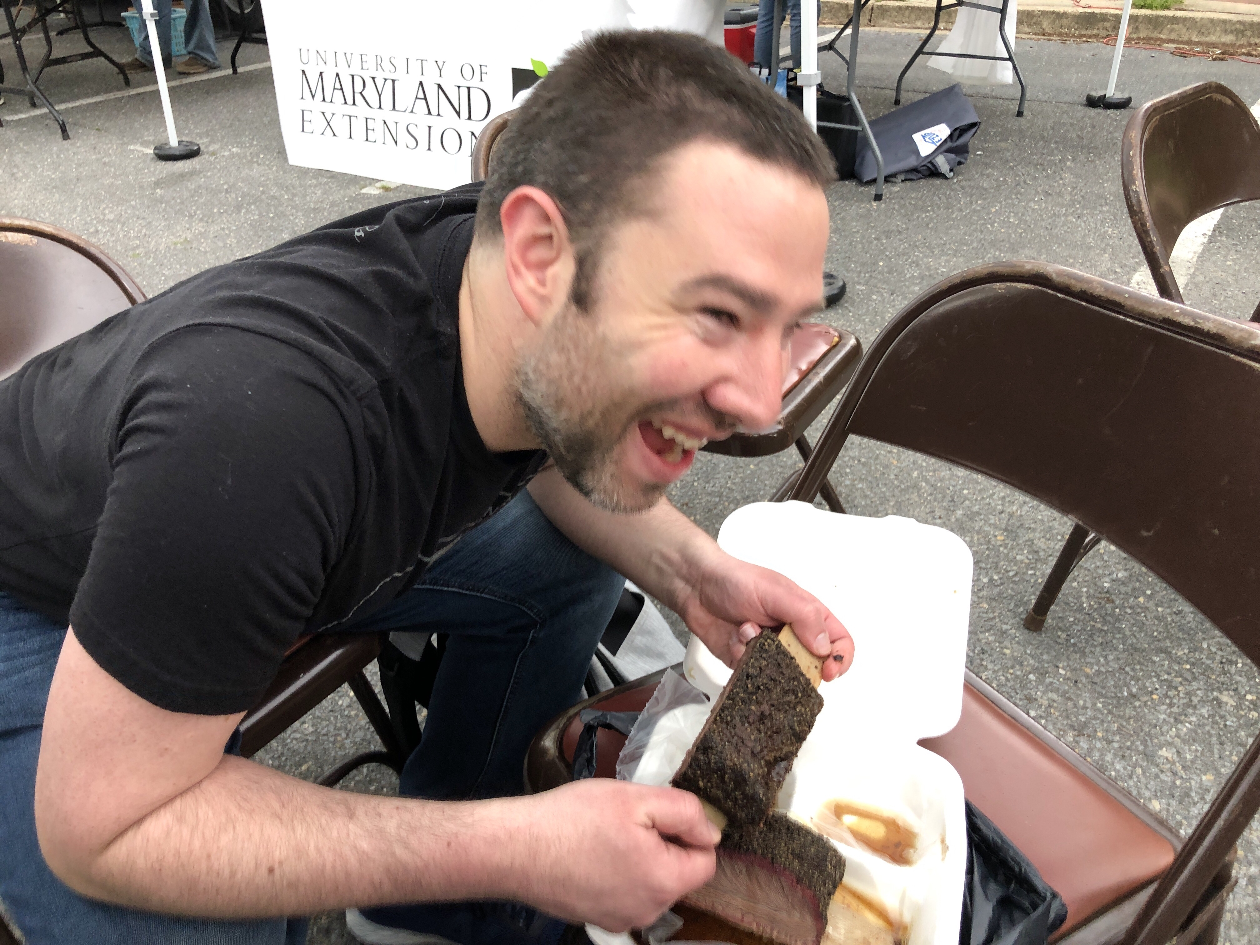 Paul eating barbecue at 250 Texas BBQ in Riverdale Park, Maryland