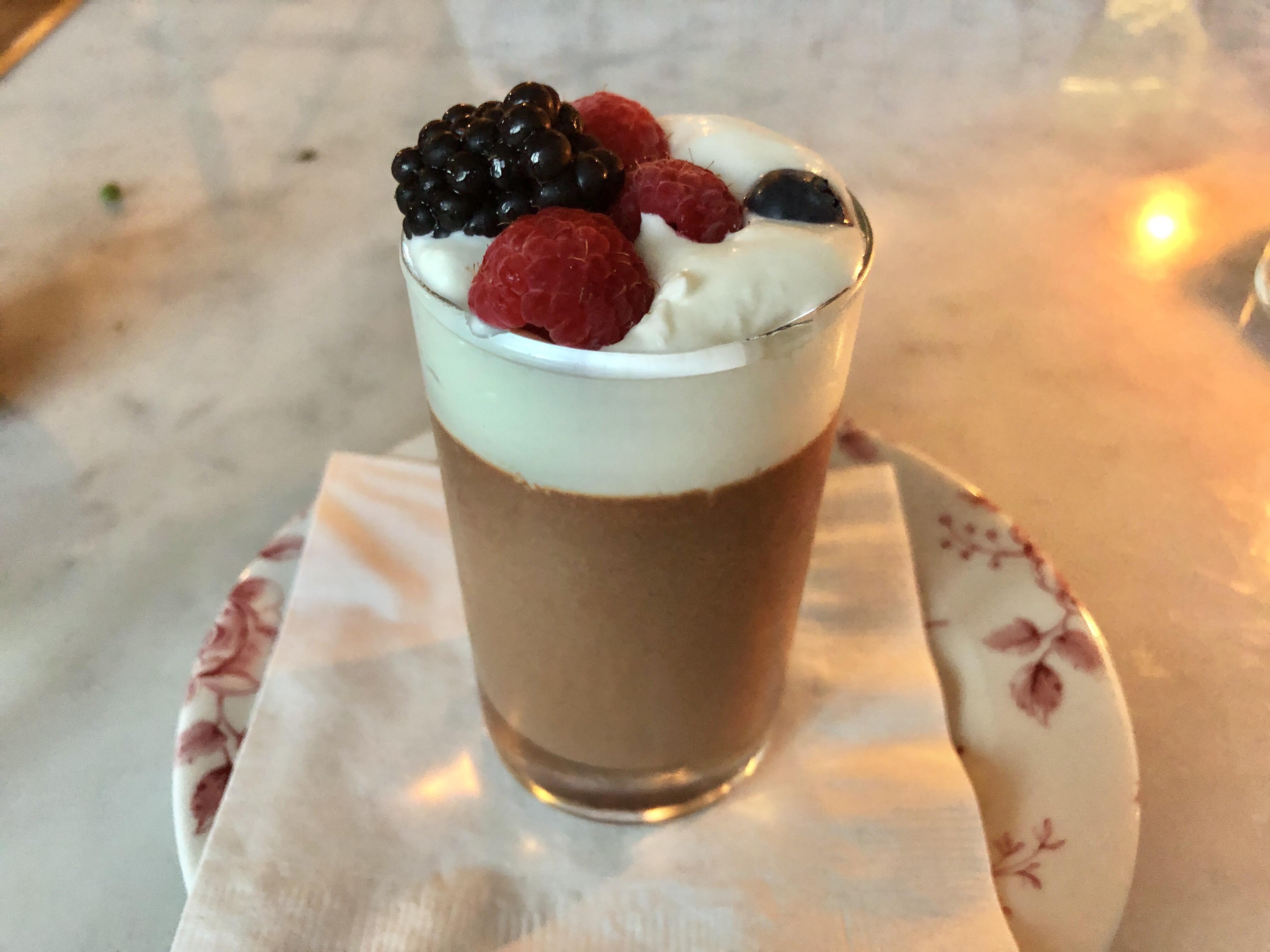 Chocolate pot de creme at Primrose in Brookland, DC