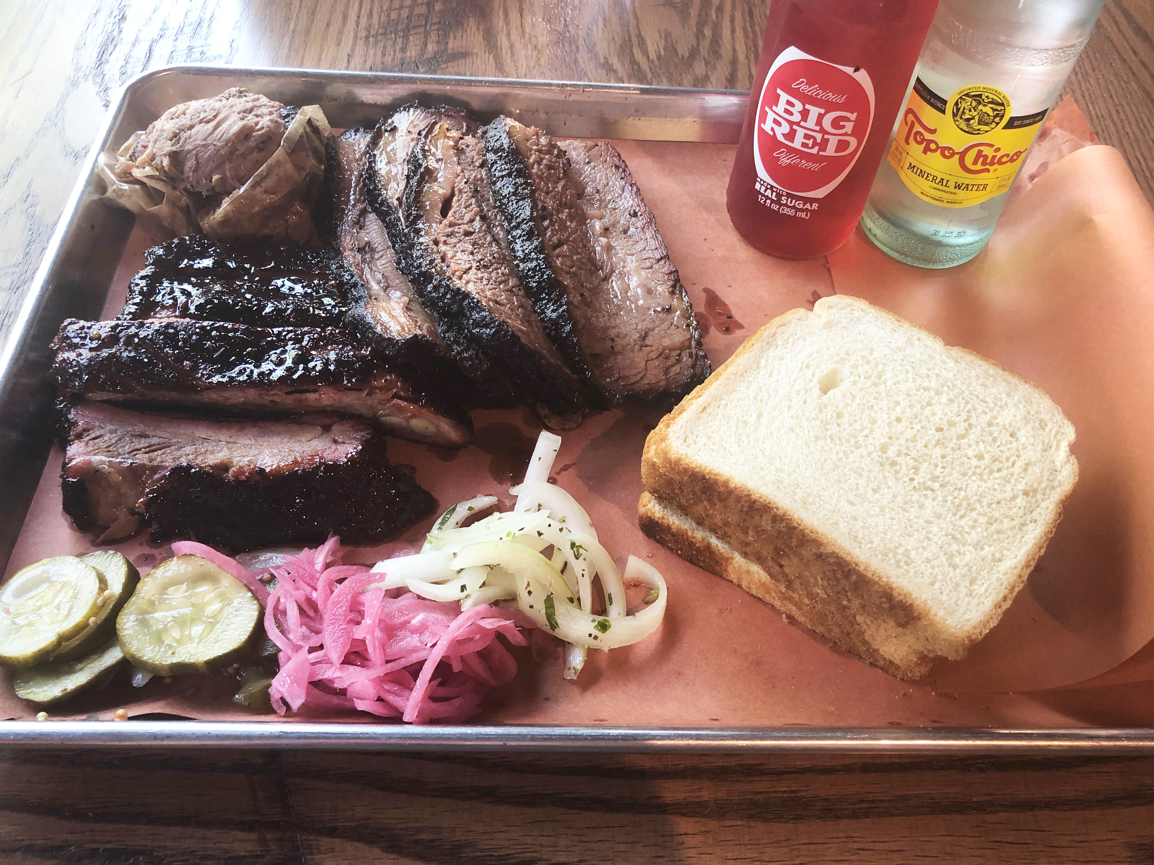 A pound of brisket, half a pound of pork ribs and a quarter pound pulled pork at ZZQ in Richmond, Virginia
