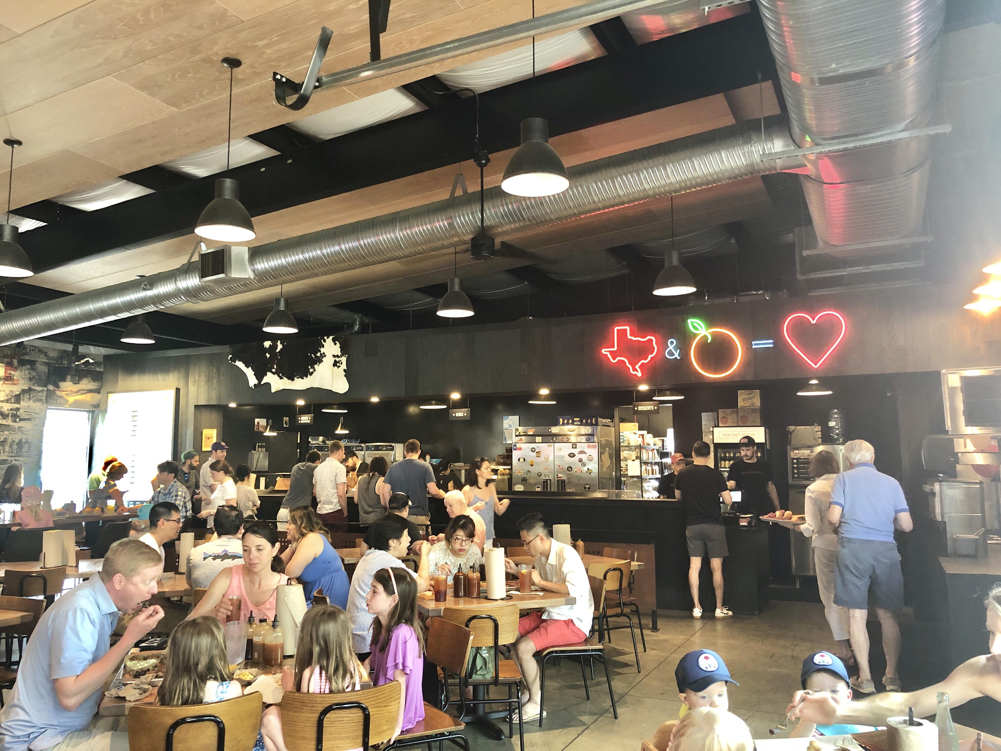 The interior restaurant space of ZZQ in Richmond, Virginia