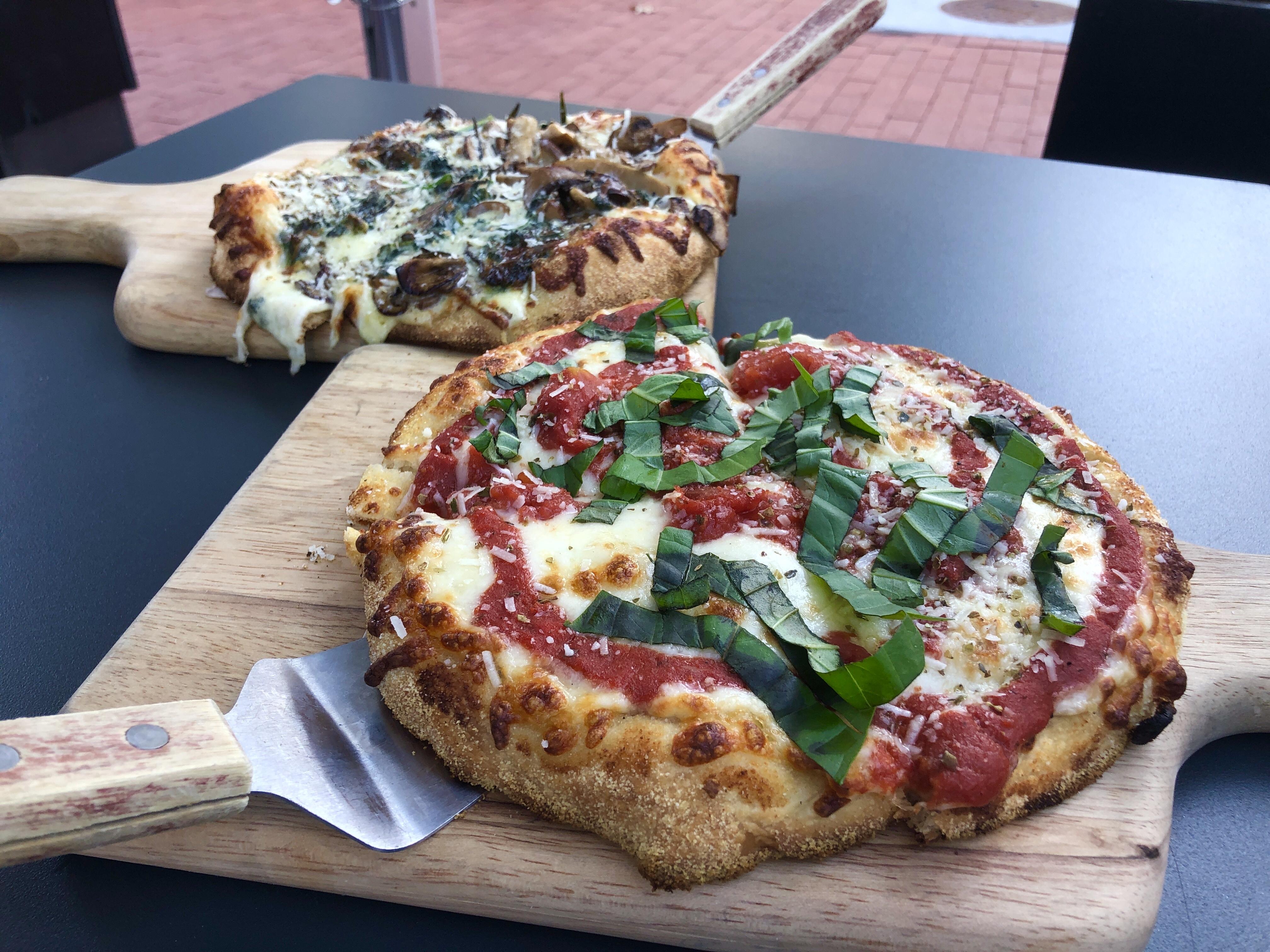 Funghi pizza and the Classica pizza at Nicoletta Italian Kitchen in Washington DC