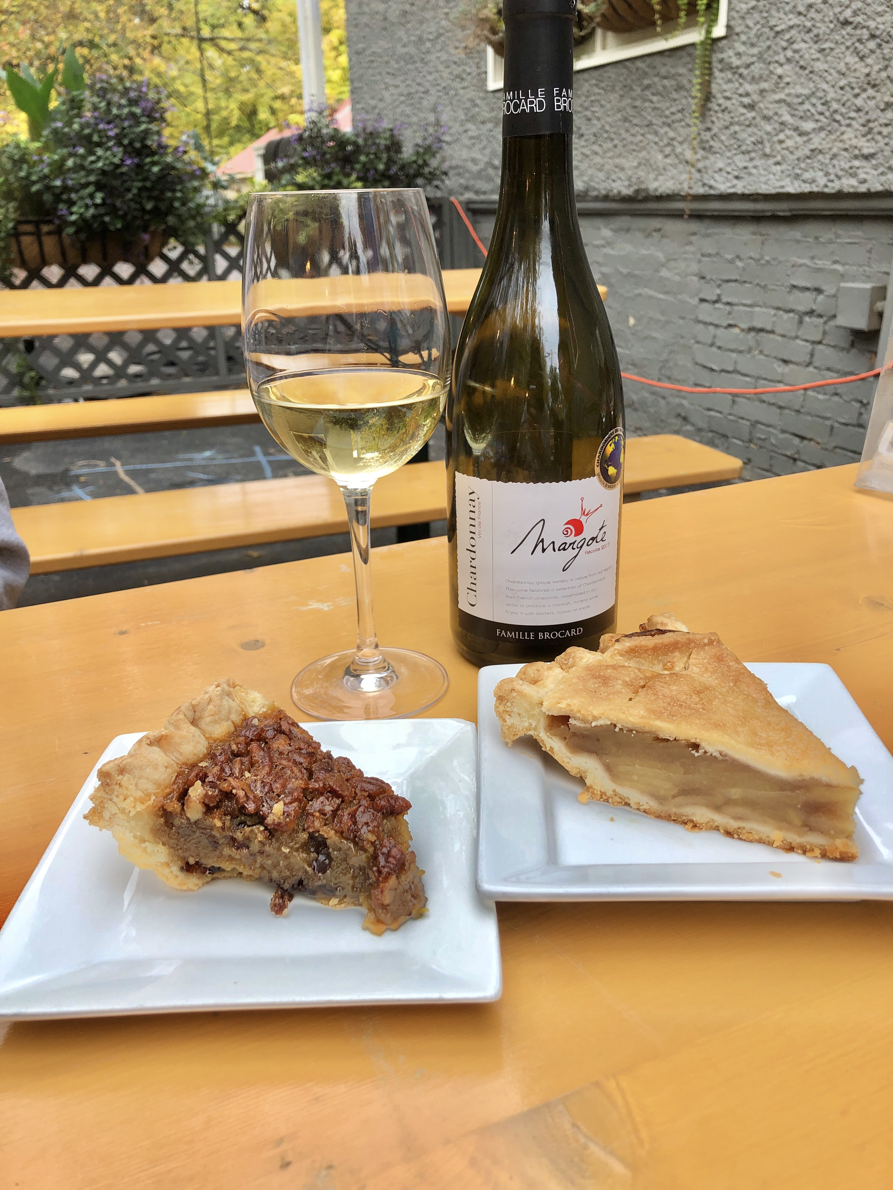 Wine and pie for dessert at The Girl and The Vine in Takoma Park, Maryland