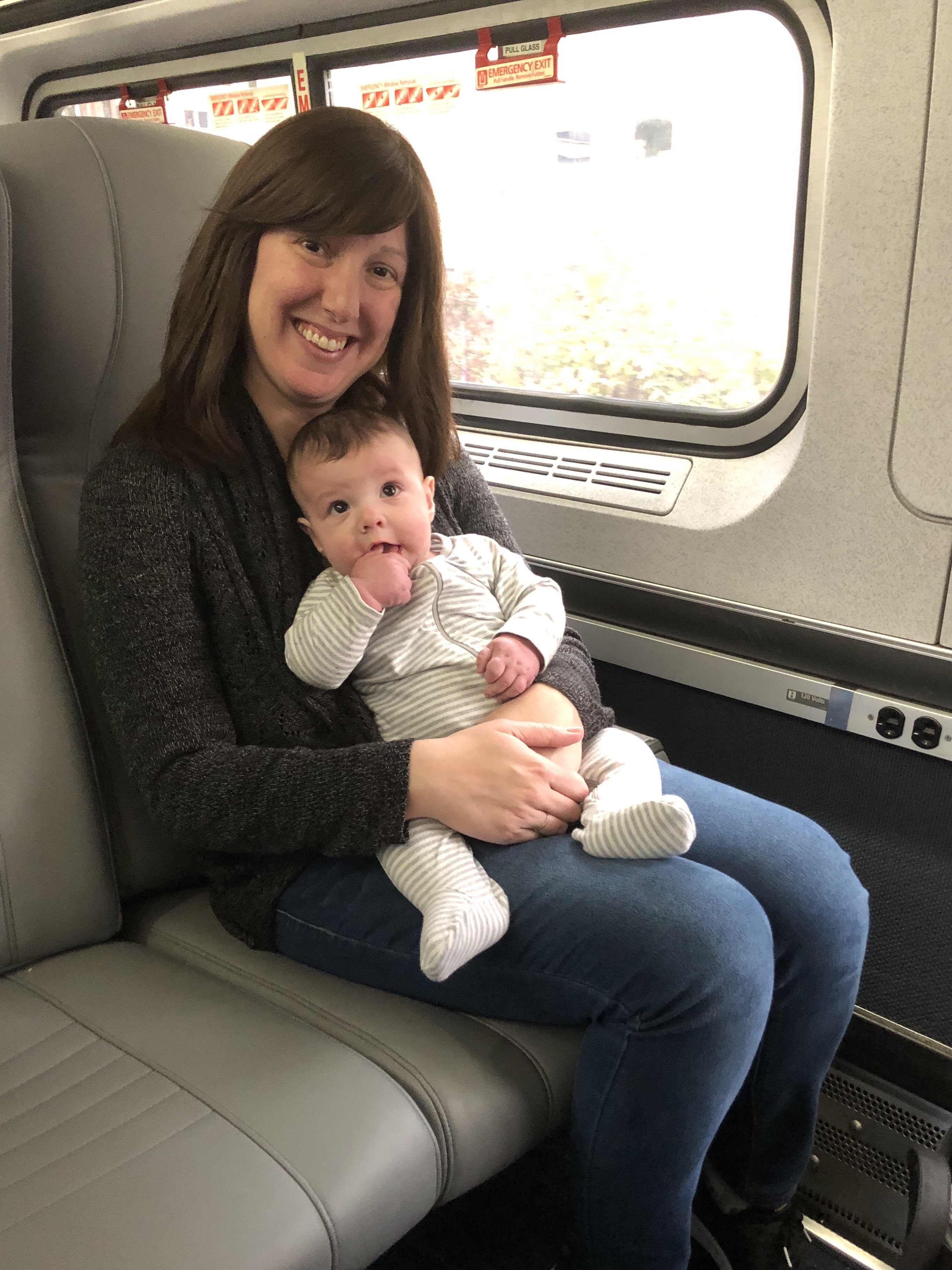 Marnay and Brendan on the Amtrak train heading to Richmond, Virginia